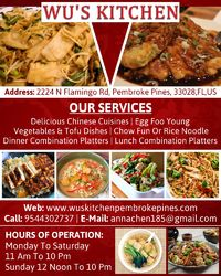 chinese food dining pembroke pines wus kitchen inc hollywood fl - Wus Kitchen