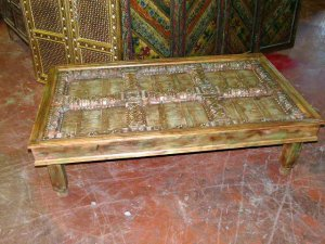 Antique Old Door Rustic Carved Teak Coffee Table India